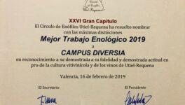"""PREMIO AL CAMPUS DIVERSIA: """"MEJOR TRABAJO ENOLÓGICO 2019"""""""